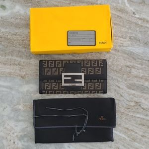 Fendi Long Clasp Wallet Canvas And Leather
